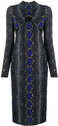 Versace Python Print Cut-Out Midi Dress
