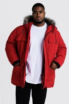 boohoo Mens Red Big & Tall Faux Fur Hooded Arctic Parka, Red