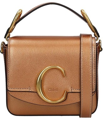 Chloé C Hand Bag In Bronze Leather