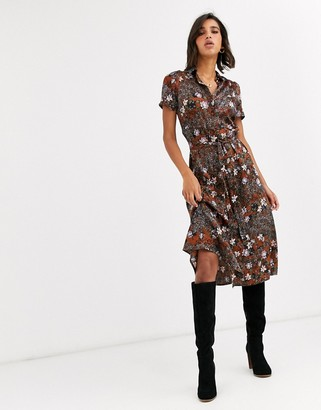 Vero Moda short sleeve shirt midi dress in mixed floral print-Multi