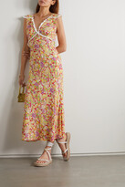 Thumbnail for your product : Rixo Storm Crochet-trimmed Floral-print Crepe Midi Dress - Yellow