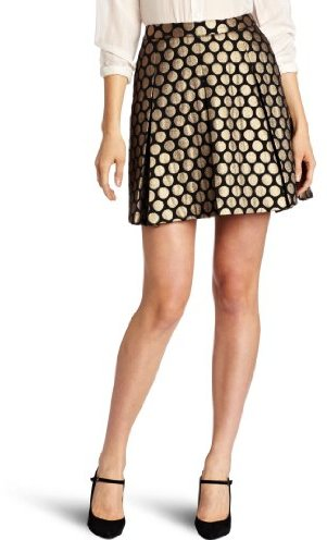 Vince Camuto Women's Pleated Dot Jacquard Skirt