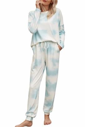 Evelife Women Tie Dye Printed Long Sleeve Pyjamas Set Lady Pjs Set Lounge Wear Sleepwear with Pockets Drawstring(Green Small)