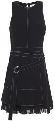 Cinq à Sept Carver Belted Pleated Georgette-paneled Crepe Mini Dress