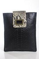 Kara Ross Black Gray Snakeskin Jewel Flap Small Rectangle Clutch Handbag