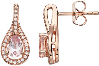 14k Rose Gold Over Silver Simulated Morganite & Lab-Created White Sapphire Earrings