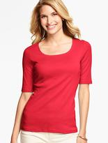 Talbots Pima Cotton Rounded Square-Neck Tee