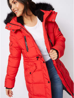 George Ozark Red Longline Thermolite Wadded Padded Coat