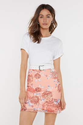 Nasty Gal Womens Dragon Queen Floral Bodycon Skirt - Pink - 14