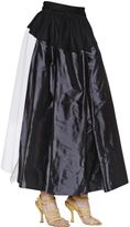 Vivienne Westwood Paneled Silk Taffeta Skirt W/ Logo Print