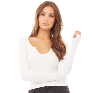 Brave Soul Womens Jane V Neck Split Long Sleeve Top White