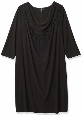 MSK Women's Plus Size Solid Black Cowl Neck Fringe Three Quarter Length Sleeve Dress 2X