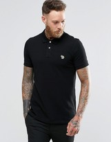 Ps By Paul Smith Paul Smith Polo Shirt With Zebra Logo In Slim Fit Black