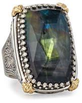 Konstantino Crystal Quartz Over Spectrolite Ring in Carved Sterling Silver