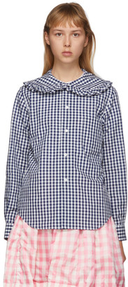 Comme des Garcons Navy and White Check Peter Pan Collar Blouse