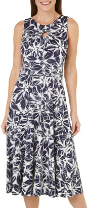 Julian Taylor Women's Floral Printed Belted A-line Dress