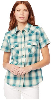 Pendleton Short Sleeve Frontier Shirt (Aqua Multi) Women's Clothing