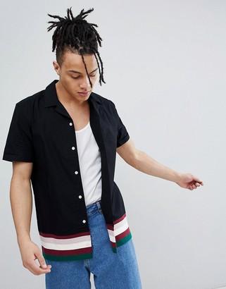 Asos Design DESIGN regular fit revere collar shirt with contrast ribbed hem-Black