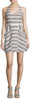 A.L.C. Hudson Striped Halter Dress, Ivory/Black