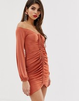 Asos Design DESIGN ruched slinky off shoulder bodycon mini dress with tie