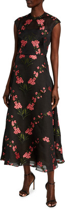 Lela Rose Floral Embroidered Chiffon Full-Skirt Dress