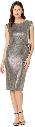 Tahari ASL Hammered Stretch Metallic Side Tie Dress (Bronze Black) Women's Dress