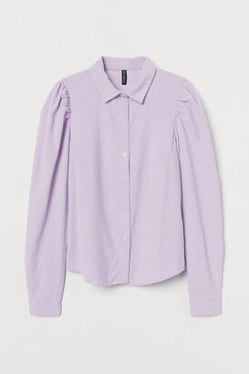 H&M Puff-sleeved corduroy shirt