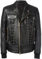 Balmain lace-up biker jacket - men - Cotton/Lamb Skin/Polyester - 52
