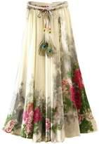 Kafeimali Women's Flowy Summer Casual Floral Bohemian Chiffon Long Maxi Skirt