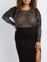 Charlotte Russe Plus Size Studded Mesh Bodysuit