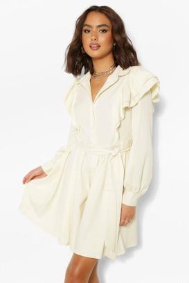 boohoo Ruffle Sleeve Belted Skater Shirt Dress