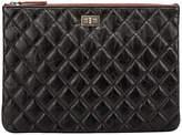 One Kings Lane Vintage Chanel Black Reissue Leather Clutch - Vintage Lux