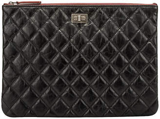 One Kings Lane Vintage Chanel Black Reissue Leather Clutch - Vintage Lux