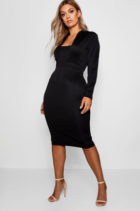 boohoo Plus Plunge High Collar Midi Dress