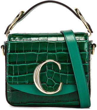 Chloé Mini C Embossed Croc Crossbody Bag in Woodsy Green | FWRD