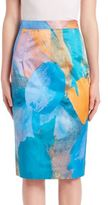 Milly Watercolor Printed Silk Blend Pencil Skirt