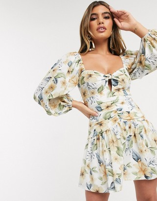 Bec & Bridge fleurette floral mini dress with balloon sleeves in print