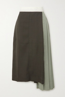 Peter Do Pleated Color-block Woven Midi Skirt - Gray