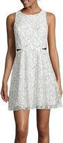 Speechless Sleeveless Illusion Cutout Lace Skater Dress