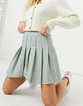 New Look mini pleated tennis skirt in pastel green check