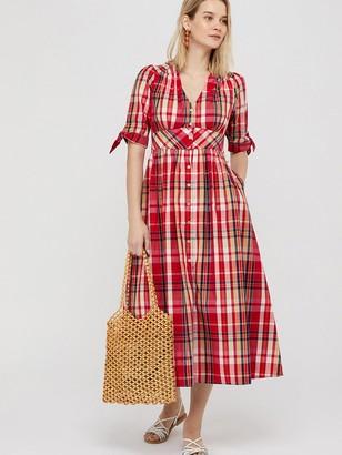 Monsoon Nila Check Organic Cotton Midi Dress - Red