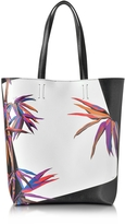 Emilio Pucci Bamboo Print Black and White Leather Tote