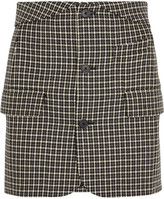 Helmut Lang Checked Wool Mini Skirt - Black