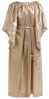 Lisa Marie Fernandez Angel Sleeve Belted Cotton Blend Dress - Womens - Gold Multi