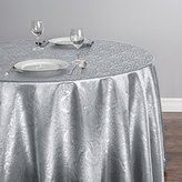 LinenTablecloth Round Baroque Embossed Satin Tablecloth, 108-Inch, Silver