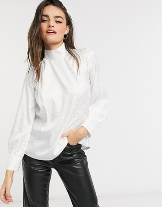 Closet London high neck blouse in ivory