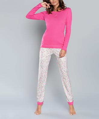 Italian Fashion Women's Sleep Bottoms pink - Pink Leaf Lena Pajama Set - Women