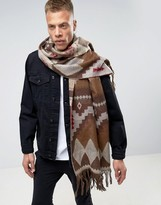 Asos Aztec Blanket Scarf In Brown