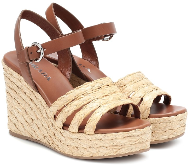 016548785 Prada Espadrille Wedge Women's Sandals - ShopStyle
