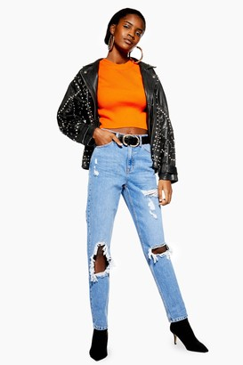 Topshop Womens Bleach Destroy Ripped Mom Jeans - Bleach Stone